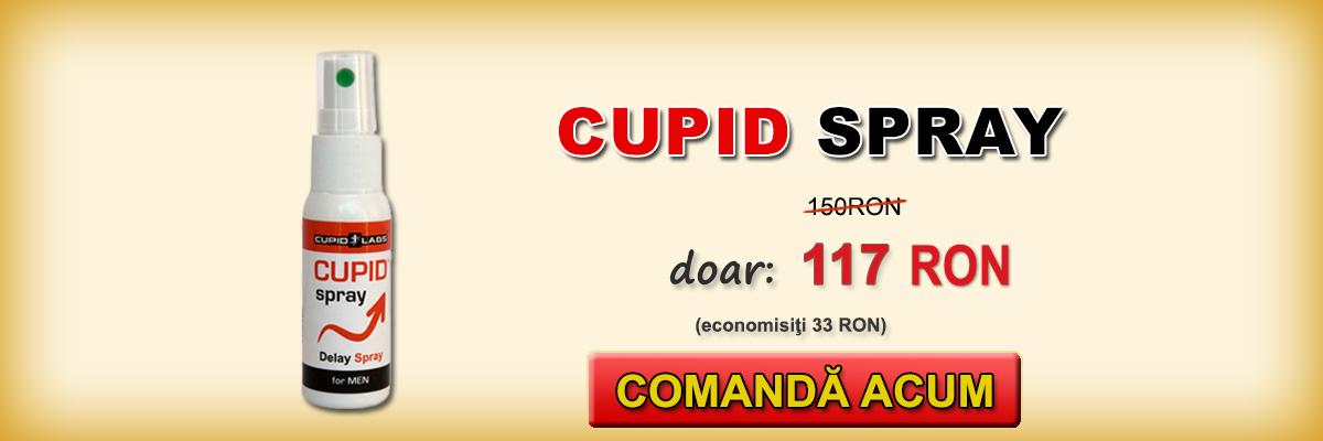 Spray-ul anti ejaculare precoce Cupid Spray + cadou prezervative. Este ilustrat preţul şi tipul de produse într-un banner galben.