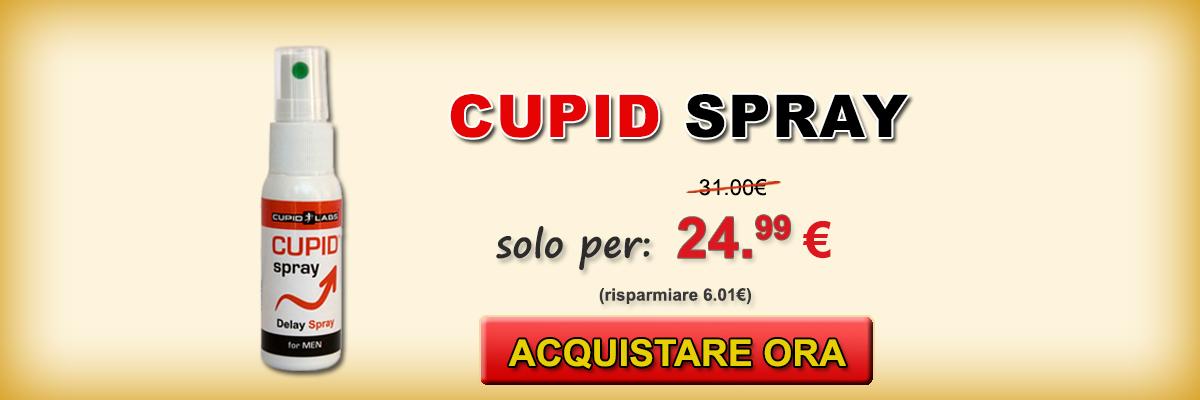 Spray ritardante per gli uomini Cupid Spray + regalo preservativi. Prezzo e il tipo di prodotti scritti sul bell banner giallo.