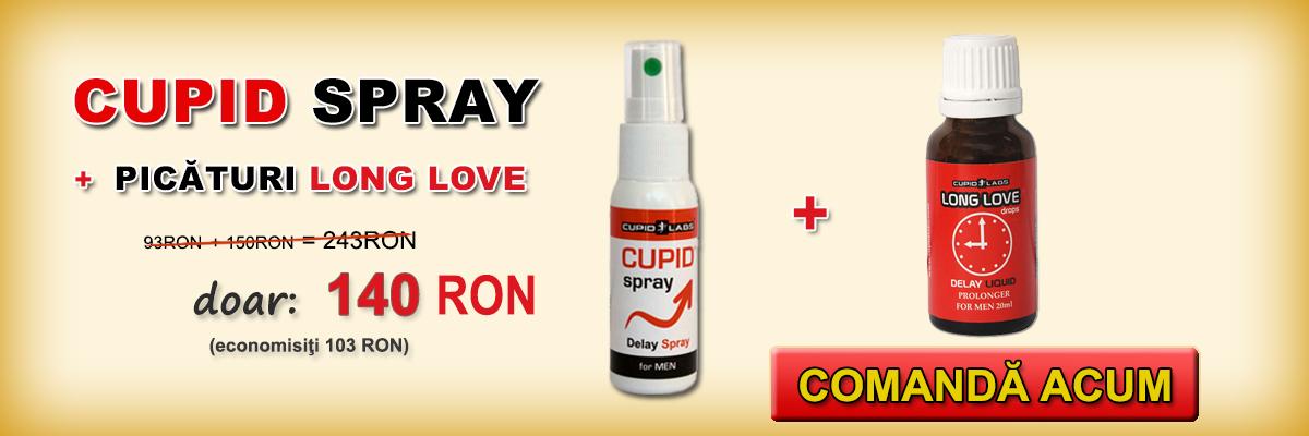 Spray-ul anti ejaculare precoce Cupid Spray + gelul pentru mărirea penisului Enlargo + cadou prezervative. Este ilustrat preţul şi tipul de produse într-un banner galben.