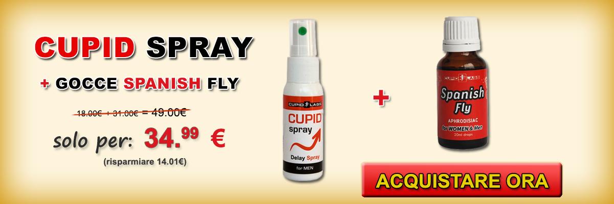 Acquistare spray ritardante per gli uomini e le gocce eccitante Spanish Fly+ regalo 2 preservativi . Prezzo e il tipo di prodotti scritti sul bel banner giallo.