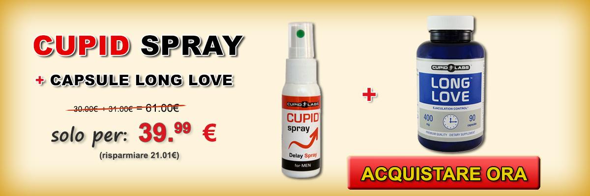Set per ritardare eiaculazione Long Love e Cupid Spray + regalo 10 preservativi. Prezzo e il tipo di prodotti illustrati in un bell banner giallo.