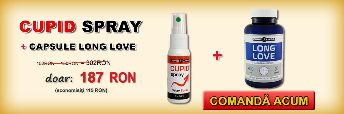 Setul pentru întârzierea ejaculării Long Love şi Cupid Spray + cadou 10 prezervative. Este ilustrat preţul şi tipul de produse într-un banner galben.