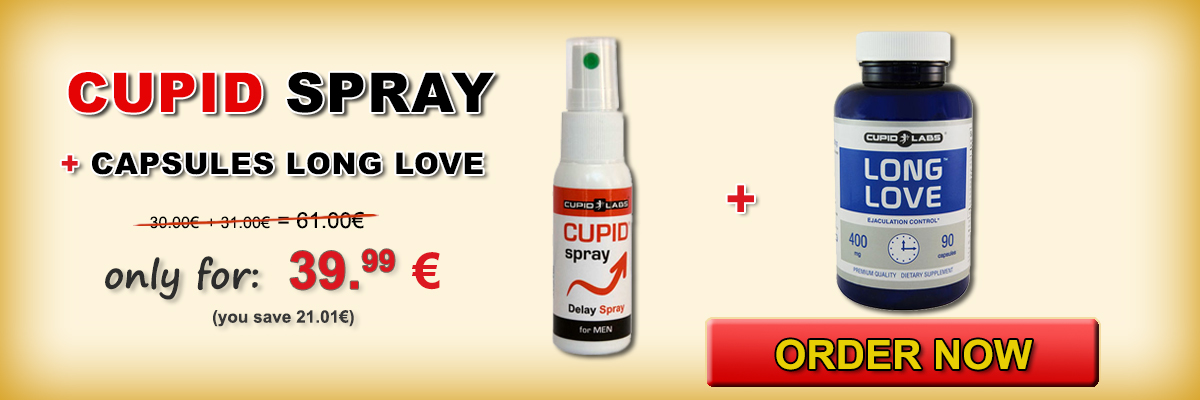 Set delay ejaculation Long Love and Cupid Spray + 10 gift condom. Displayed price and type of products in a beautiful yellow banner.