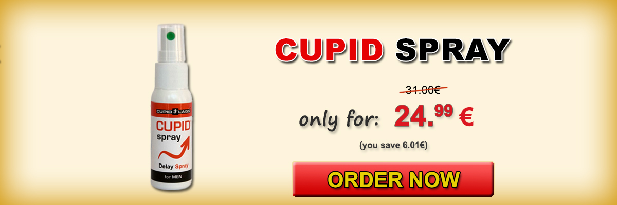 Deterrent Spray for men Cupid Spray + gift condoms. Displayed price and type of products in a beautiful yellow banner.