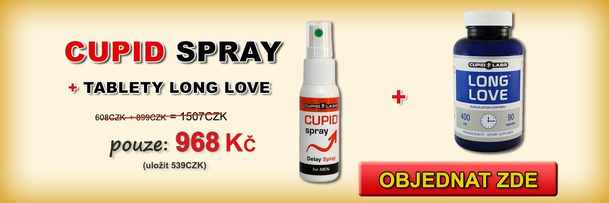 Nastavené zpoždění ejakulace Long Love and Cupid Spray + 10 dárkové kondom. Zobrazí cenu a typ produktů v krásné žluté banner.
